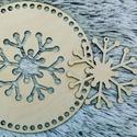 2in1 hópelyhes  kör 20 cm-es horgolható fa alap - Wood Stitch Collection, Fa, Rétegelt lemez, fa alap, Kötés, horgolás, Saját ötlet és fejlesztés alapján gyártott horgolható fa alap, melynek a közepe egy külön felhaszná..., Alkotók boltja
