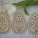 Áttört mintás tojások horgolható fa alap szett  - Wood Stitch Collection, Fa, Rétegelt lemez, fa alap, Kötés, horgolás, Megérkeztek a Wood Stitch Collection tavaszi újdonságai!  Ebből a három darabos, áttört mintás tojá..., Alkotók boltja