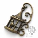 Antikolt bronz színű romantikus madárkalitka medál, Antikolt bronz színű romantikus madárkalitka me...