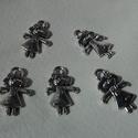 Tündérke medál, Gyöngy, ékszerkellék, Egyéb alkatrész, Ékszerkészítés, Szerelékek, Tündérke tibeti ezüst színű medálok. Méret: 7*13 mm 1 csomag 5 db medált tartalmaz., Alkotók boltja