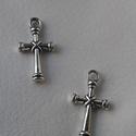 Kereszt medál, Gyöngy, ékszerkellék, Egyéb alkatrész, Tibeti ezüst színű medálok. Méret: 10*20 mm 1 csomag 2 db-ból áll., Alkotók boltja