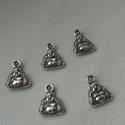 Buddha medál, Gyöngy, ékszerkellék, Egyéb alkatrész, Tibeti ezüst színű medálok. Méret: 9*11 mm 1 csomag 5 db-ból áll., Alkotók boltja