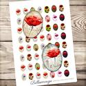 Digitális kép ékszerkészítéshez 18x25mm - ovális pipacsok és réti virágok, Gyöngy, ékszerkellék, Üveglencse, ------------ AKCIÓ ----------- 3+1 akció Vásárolj 3 kollázst és a negyediket ajándékba kapod. (Csak ..., Alkotók boltja