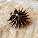 Áttört, antik bronz szakállas bagoly medál, charm, Gyöngy, ékszerkellék, Egyéb alkatrész, Alkotók boltja