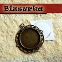 Antik bronz faragott kerek medálalap + epoxi 20mm, Gyöngy, ékszerkellék, Antik bronz faragott,kerek medálalap + epoxi. Az antik bronz faragott keret szépen körbeöleli ma..., Alkotók boltja