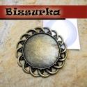 Antik bronz kerek medálalap (4343) + 30mm epoxi, Gyöngy, ékszerkellék, Fém köztesek, Antik bronz medálalap + epoxi.  Medál méret: 43 x 43 mm, epoxi: 30 mm.  A csomag 1db medált + 1d..., Alkotók boltja