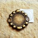 Nagy antik bronz kerek medálalap(4241) + epoxi 25mm, Gyöngy, ékszerkellék, Alkotók boltja