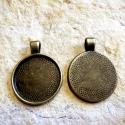 Antik bronz medálalap (3628) + üveglencse 25 mm, Gyöngy, ékszerkellék, Alkotók boltja