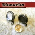 Antik bronz díszített szélű,továbbfűzhető fülbevaló alap (1 pár)+szilikon hátsó, Gyöngy, ékszerkellék, Ékszerkészítés, Antik bronz,továbbfűzhető fülbevaló alap. Tüske mérete: 11,5 mm. Teljes hossz:14 mm. A tányérjába 1..., Alkotók boltja