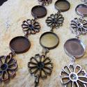 Strasszozható virágos karkötő + üveglencse / 3 színben, Gyöngy, ékszerkellék, Fém köztesek, Alkotók boltja