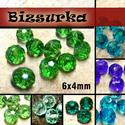 6x4 mm csiszolt üveggyöngy (10db) / Zöldek-Kékek, Gyöngy, ékszerkellék, Üveggyöngy, csiszolt üveggyöngy. Mérete: 6 x 4 mm  Választható színek: - Fűzöld  - Világos zöld - Menta - Smarag..., Alkotók boltja