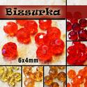 6x4mm  csiszolt üveggyöngy (10db) / Sárgák - Pirosak, Gyöngy, ékszerkellék, Üveggyöngy, csiszolt üveggyöngy. Mérete: 6 x 4 mm  Választható színek: - Narancs-piros - világos sárga - sárga -..., Alkotók boltja