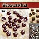 Antik bronz virágos gyöngykupak 20db / 28-30 típus, Gyöngy, ékszerkellék, Drót, Virágos gyöngykupak. Méret: 6,5 x 6,5 mm  8-14 mm-s gyöngyhöz ajánlom.  választható színek: 28 - vör..., Alkotók boltja
