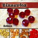 8x6mm csiszolt üveggyöngy (8db) / Sárgák - Pirosak, Gyöngy, ékszerkellék, Üveggyöngy, csiszolt üveggyöngy. Mérete: 8 x 6 mm  Választható színek: - sötét piros - világos sárga - sárga - s..., Alkotók boltja