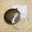 Kétoldalas Antik bronz  medálalap + 2db 30mm-s epoxi, Gyöngy, ékszerkellék, Fém köztesek, Alkotók boltja