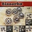 6db ezüst köztes / 8 típus, Gyöngy, ékszerkellék, Fém köztesek, Választható: 1. strasszozható virág (17x17mm) 2. rombusz csipka (19x12mm) 3. rózsa (19x12mm) 4. Négy..., Alkotók boltja
