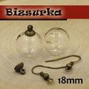 Üveggömb füli készítő csomag 18mm-s / 2 színben, Gyöngy, ékszerkellék, Egyéb alkatrész, Ékszerkészítés, Üveggömb füli készítő csomag  választható színek: - antik bronz - nikkel ezüst színű  üveggömb mére..., Alkotók boltja