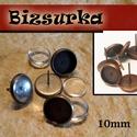 4db  bedugós fülbevaló alap + 4db üveglencse (10mm), Gyöngy, ékszerkellék, Bedugós fülbevaló alap üveglencsével  Választható színek: - Antik bronz  - Vörösréz színű  Mérete: 1..., Alkotók boltja