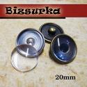 20-as Noosa díszpatent, üres + 18mm üveglencse / 2 színben, Gyöngy, ékszerkellék, Cabochon, Noosa díszpatent ragasztható tárcsával, 18 mm-es üveglencsével.  Választható színek: - nikk..., Alkotók boltja