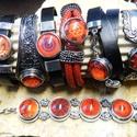 1db Noosa bőrkarkötő 2.típus / fekete, Gyöngy, ékszerkellék, Cabochon, Alkotók boltja