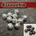 Csipke gyöngy / 2 színben, Gyöngy, ékszerkellék, Egyéb alkatrész, Vas Filigrán Gyöngyök, nikkel mentes, kerek,   Választható színek: - Nikkel ezüst színű  10db 8mm - ..., Alkotók boltja