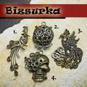 1db Figura medál, charm / 4 típus, Gyöngy, ékszerkellék, Ékszerkészítés, Választható: 1. NINCS SAJNOS  2. Látványos, antik bronz áttört bagoly, medál. (3,4 mm-s strasszal d..., Alkotók boltja