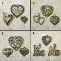 Szíves csomag ( 3 db charm ) /4 féle, Gyöngy, ékszerkellék, Egyéb alkatrész, Alkotók boltja