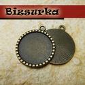 Antik bronz pöttyös medálalap  + epoxi 25mm , Gyöngy, ékszerkellék, Alkotók boltja