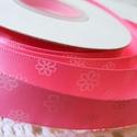 Rózsaszín virágmintás szatén szalag 16mm/20m, Textil, Szalag, pánt, Varrás, Virágkötészet, Szalag, Rózsaszín virágmintás 16mm-es szatén szalag, mely kiváló virágkötőknek, ajándék díszítésére, vagy b..., Alkotók boltja