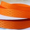 Narancssárga rombuszmintás egyoldalas szatén szalag 9mm/20m, Textil, Szalag, pánt, Varrás, Virágkötészet, Szalag, Narancssárga rombuszmintás 9mm-es egyoldalas szatén szalag, mely kiváló virágkötőknek, ajándék és m..., Alkotók boltja
