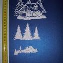 Téli falu, Dekorációs kellékek, Figurák, Dekorgumi, Csillogó felületű, 2 mm vastag glitteres  dekorgumiból készült karácsonyi applikáció, 8x3 cm méretű..., Alkotók boltja