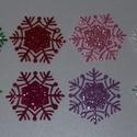 Hópehely, Dekorációs kellékek, Figurák, Dekorgumi, Mesésen csillogó felületű, 2 mm vastag  glitteres dekorgumiból készült karácsonyi applikáció, 5 cm ..., Alkotók boltja