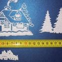 Téli kunyhó, Dekorációs kellékek, Figurák, Dekorgumi, Mesésen csillogó felületű, 2 mm vastag fehér glitteres dekorgumiból készült karácsonyi applikáció, ..., Alkotók boltja