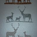 Szarvas család, Dekorációs kellékek, Figurák, Dekorgumi, Mesésen csillogó felületű, 2 mm vastag  glitteres dekorgumiból készült karácsonyi applikáció, a tél..., Alkotók boltja