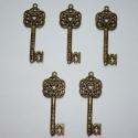Nagy inda mintás réz vintage kulcs függők (medálok) - 5db, Gyöngy, ékszerkellék, Fém köztesek, 5db nagyon szépen kidolgozott, antikolt sárgaréz (egyesek szerint bronz) színű, inda mintás kulcs fü..., Alkotók boltja