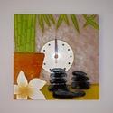 """Feng shui - egyedi festett üveg falióra , Dekoráció, Otthon, lakberendezés, Falióra, Festett tárgyak, Üvegművészet, Egy új óra-mintát terveztem, a feng shui jegyében. :) Bambusz, virág, kövek... Az """"óra az órában"""" m..., Meska"""