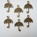 Esernyő alakú charm , Gyöngy, ékszerkellék, Egyéb alkatrész, Ékszerkészítés, Antik réz apró esernyő charm, ami használható medálnak, fülbevalónak, kiegészítőnek.  Pillekönnyű. ..., Alkotók boltja