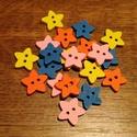 Csillag alakú, színes fagombok - 20 db (10 Ft/db), Gomb, Fa, Varrás, Famegmunkálás, Gomb, Fából készült, csillag alakú gombcsomag. A csomag 5-5 db gombot tartalmaz a következő színekből: - ..., Alkotók boltja