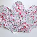 Mosható tisztasági betét - fehér-zöld-rózsaszín mintás, Táska, Divat & Szépség, NoWaste, Szépség(ápolás), Egészségmegőrzés, Varrás, 18 cm-es mosható tisztasági betét, női betét fehér-zöld-rózsaszín mintás anyagból a szélesebb fazon..., Meska