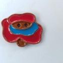 Magyar motívum gomb, Gomb, Kerámia gomb, Agyagozás, 6 darab magyar motívum virág keråmia gombot készítettem vörös agyagból és mázaztam.   Varrhatod őke..., Alkotók boltja