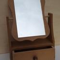 Fiókos asztali tükör MDF 22x10x36 cm, Fa, Díszíthető tárgyak, Decoupage, szalvétatechnika, Festett tárgyak, festészet, Festőfelület, Fiókos asztali tükör MDF 22x10x36 cm, Alkotók boltja