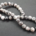 Zebra achát ásványgyöngy, drágakő gyöngy, Gyöngy, ékszerkellék, Féldrágakő, Ékszerkészítés, Gyöngy, 10 mm-es zebra achát, 39db. szálra fűzve., Alkotók boltja