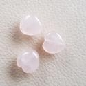 Rózsakvarc szív ásványgyöngy, féldrágakő gyöngy, Gyöngy, ékszerkellék, Féldrágakő, 3 db. középen fúrt, rózsakvarc ásványgyöngy. 12 mm-es, Alkotók boltja