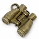 antikolt bronz távcső charm, medál, függő, Gyöngy, ékszerkellék, Alkotók boltja