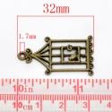 Antik bronz kalitka charm , medál , fityegő #3, Gyöngy, ékszerkellék, Egyéb alkatrész, Alkotók boltja