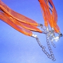 Organza nyaklánc alap (14. minta/3 db) - narancssárga, Gyöngy, ékszerkellék, Egyéb alkatrész, Organza nyaklánc alap (14. minta) - narancssárga  Nyaklánc alap szerelt: kapoccsal és lánchossz..., Alkotók boltja