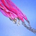Organza nyaklánc alap (3. minta/3 db) - ciklámen, Gyöngy, ékszerkellék, Egyéb alkatrész, Organza nyaklánc alap (3. minta) - ciklámen  Nyaklánc alap szerelt: kapoccsal és lánchosszabbí..., Alkotók boltja