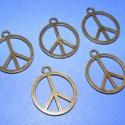 """Medál (630. minta/5 db) - """"peace"""", Gyöngy, ékszerkellék, Egyéb alkatrész, Medál (630. minta) - """"peace"""" - bronz színben  Mérete: 26x21x1 mm  Az ár 5 darab termékre vonatkozik...., Alkotók boltja"""
