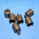 Bőrvég (434/D minta/6 db) - 10x6 mm, Gyöngy, ékszerkellék, Egyéb alkatrész, Bőrvég és szalagvég (434/D minta) - bronz színben  Mérete: 10x6 mm (belső átmérő: 5 mm)  Az ár 6 dar..., Alkotók boltja