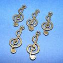 Medál (501/B minta/5 db) - violinkulcs, Gyöngy, ékszerkellék, Egyéb alkatrész, Ékszerkészítés, Szerelékek, Medál (501/B minta) - violinkulcs - antik bronz színben  Mérete: 25x10 mm  Az ár 5 darab termékre v..., Alkotók boltja